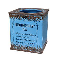Maceta de ceramica cuadrada azul estilo vintage de 14x14x15.8cm