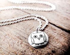 Owl+necklace++tiny+silver+pendant+owl+jewelry+by+lulubugjewelry,+$28.00