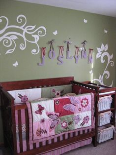 I like the wall bedding and the letters on ribbon!