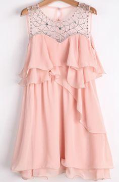 Pink Sleeveless Bead Ruffle Chiffon Dress - Sheinside.com