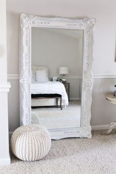 floor length mirror, mirror in master bedroom, white frame bedroom, master bedroom, white bedroom, king size bed, sitting area in bedroom, lamp, pillows, sheets, cathedral ceilings, gray and white, rug, master bedroom, storage, end tables, bed side tables, elegant, cozy #afflink