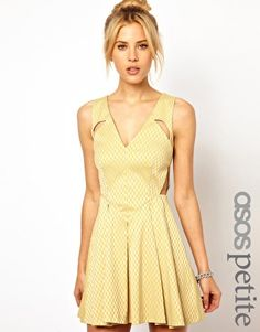 ASOS PETITE EXCLUSIVE Geo Skater Dress With Cut Out Detail