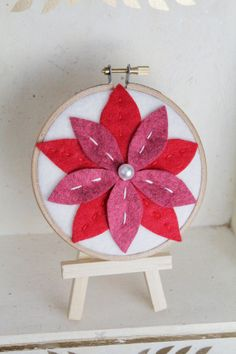 Holiday Felt Poinsettia Embroidery Hoop Art by CatshyCrafts
