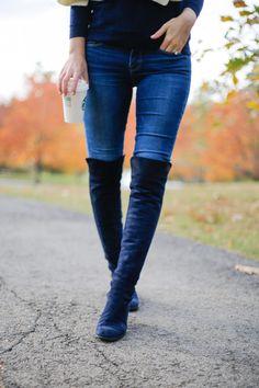 0db88dfadb0b20 stuart weitzman 5050 boots nice blue suede - Design Darling