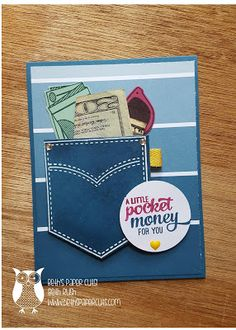 Pocketful of Sunshine from Stampin' Up! Money holder ~ Beth's Paper Cuts