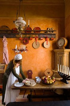 Madeleine Lee in her stunning antique swedish themed kitchen