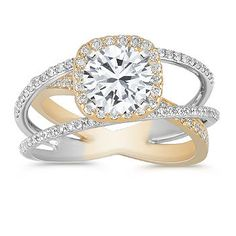 Swirl Halo Diamond Engagement Ring in Two-Tone Gold with Pave Setting with Brilliant Round Diamond