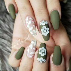 Flower Nail Designs Flower nails are perfect for the spring and summer. Before you head to the nail salon, check out 40 of our favorite flower nail designs for spring and summer. Coffin Nails Matte, Cute Acrylic Nails, Acrylic Nail Designs, Fun Nails, Nail Art Designs, Acrylic Nails Green, Best Nails, Coffin Nail Designs, Coffen Nails