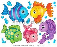 Illustration about Fish theme image 4 - vector illustration. Illustration of friendly, saltwater, animal - 30192942 Cartoon Sea Animals, Cartoon Fish, Drawing For Kids, Art For Kids, Animal Drawings, Art Drawings, Adobe Illustrator, Sea Theme, Fish Theme