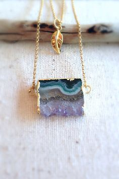 Purple Amethyst Slice Necklace, Amethyst Stalactite Necklace by Aina Kai ~ Maui, Hawaii ~ Etsy