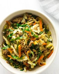 Keto Egg Roll in a Bowl (Crack Slaw) - Green and Keto Your favorite take-out flavors in a keto egg roll in a bowl recipe. Also called crack slaw, keto egg roll in a bowl is an easy keto dinner recipe made with beef or pork. Whole 30 too! Appetizer Recipes, Keto Recipes, Dinner Recipes, Cooking Recipes, Healthy Recipes, Simply Recipes, Potato Recipes, Pasta Recipes, Crockpot Recipes