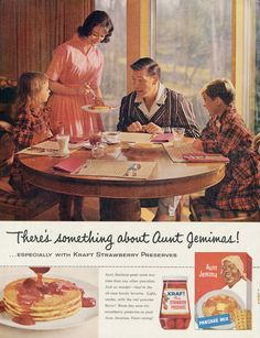 1960 Aunt Jemima Pancake Mix Ad Family Breakfast Photo Mad Men Era Vintage Advertising Print Retro Kitchen Wall Decor