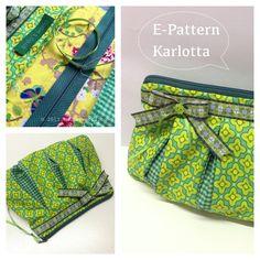 Green Karlotta, e-pattern Bag Patterns To Sew, Pdf Sewing Patterns, Home Sew, Tote Purse, Handmade Bags, Beautiful Bags, Bag Making, Boho Shorts, Purses And Bags