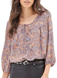 Women's Fashion 3/4 Sleeve Printed Pullover Spring Blouse OASAP.com