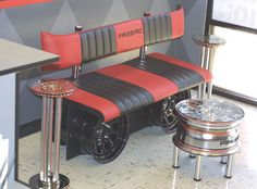 this design features an upholstered sofa bench made with wheel rims and ...  woohome.com