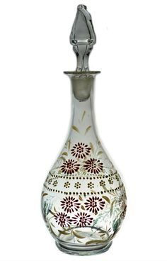 Enamelled Glass Decanter in Pink and Yellow by LavishShoestring,:):