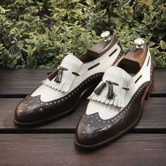 Handmade Men loafer shoes, Men formal shoes, Men brown and white shoes White Leather Shoes, Leather Loafers, White Shoes, Loafers Men, Soft Leather, Real Leather, Tassel Loafers, Leather Tassel, Leather Boots