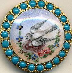 Antique enamel button -bird on nest - pierreries border.