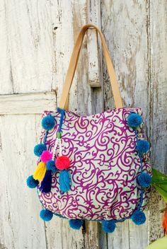 Raffia Pompom bag/Beach tote bag/Tassel pompom beach bag/Summer ...
