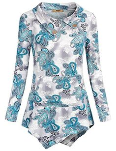 Tunics for Women Miusey Ladies Lapel Collar Long Sleeve Top with Buttons Paisley Floral Printed Tshirt Fashion Casual Blouse A Line Sweatshirt Autumn with pocket Blue Xxl ** You can get more details by clicking on the image. (This is an affiliate link)