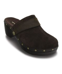 TOO CUTE! Take a look at this Espresso Leather Cobbler Studded Clog - Women by Crocs on #zulily today!