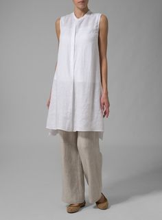 Linen Sleeveless A-line Long Tunic Off White