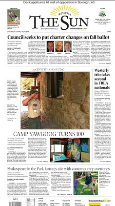 The front page of The Westerly Sun on July 19, 2015.  Article about #Yawgoog's 100th season by Cynthia Drummond and images by Harold Hanka: https://www.pinterest.com/pin/541417186431015579/