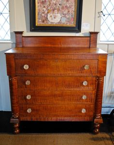 Outstanding Early American Tiger maple chest, Circa 1830 - Leonards Antiques