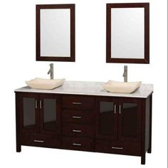 Wyndham Collection Lucy 72 inch Double Bathroom Vanity in Espresso, White Carrera Marble Countertop, Avalon Ivory Marble Sinks, and 24 inch Mirrors