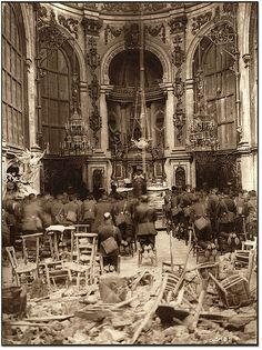 A Thanksgiving Service, attended by Canadian troops, being held in the Cambrai Cathedral , 13 October 1918 [[MORE]]marquis_of_chaos:Archives of Ontario under the item reference code C Catholic Mass, Catholic Priest, Roman Catholic, Canadian History, Canadian Army, American History, Native American, World War One, World History