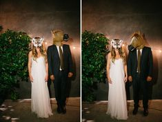 Bride and groom fun and unique wedding photos. #horsemask