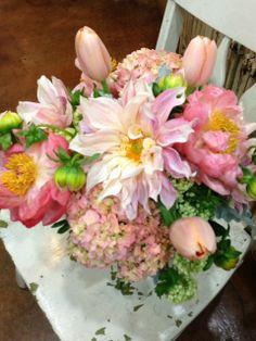 Peach Dahlia, Peach French Tulips, Coral Peony, Hydrangea, Viburnum