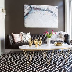 Love this room and love the print on the carpet