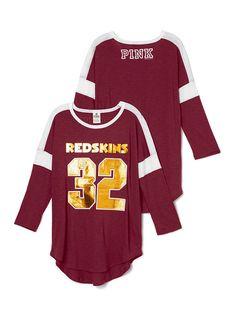 Victoria Secret PINK Washington Redskins M fit L Boyfriend Bling Jersey T Shirt #VictoriasSecret #GraphicTee