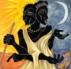 West African Benin Goddess MAWU-LISA. Mawu-Lisa are the creator deities of Dahomey mythology, associated with the moon and sun. In some myths, they are married twins; in others, both deities are aspects of the same androgynous or hermaphroditic deity.