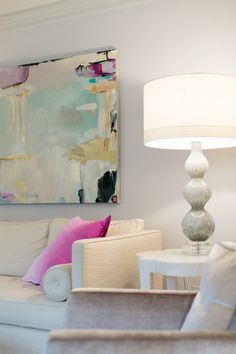 Soft Gray and Hot Pink color inspiration - Living room colors and ideas