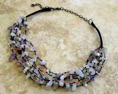 Glass Beads Necklace Glass Stones Multistrand by FrancaandNen