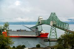 08.2014 Vigorous Drydock (3 pieces, ea as long as Statue of Liberty height). Blue Marlin, heavy-lift vessel, approaching from west at Astoria-Megler Bridge.
