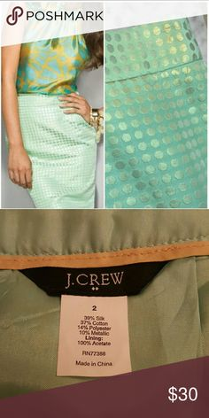 """J. Crew shimmer dots pencil skirt J. Crew shimmer dots mint green skirt. So cute! No flaws, like new. kick pleat in back. 39%silk, 37% cotton, 14% polyester, 10% metallic. Lining is 100% acetate. Length 21.5"""", waist 29"""". J. Crew Skirts Pencil"""