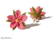 Pink Earrings - Needle lace oya earrings, coral pink crochet,