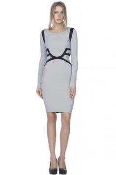 Stella and Jamie Versailles Long Sleeve Dress in Cool Grey  available at #Loehmanns