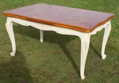 super french louis xv style shabby chic extending cherry table - photo angle #13