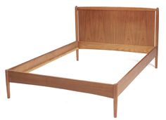 "Danish bed, full-size, by cabinetmaker Povl Dinesen, teak, includes headboard, footboard and side rails, original finish, 56.5""w x 37""h, very good condition"