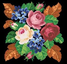 Gallery.ru / Фото #115 - Вышиванки - radost68 Rose Embroidery, Cross Stitch Embroidery, Cross Stitch Charts, Cross Stitch Patterns, Black And White Flower Tattoo, Chart Design, Malm, Cross Stitch Flowers, Plastic Canvas Patterns