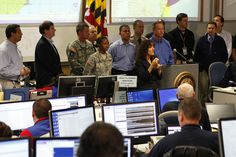 Governor O' Malley briefs staff, news crews, and the public on Hurricane Sandy.