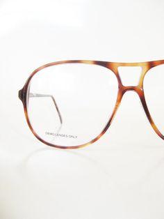 3a40f0fef5b Mens Oversized Aviator Eyeglasses 1980s Huge Glasses Guys Homme Men  Tortoiseshell Light Amber Fawn 80s Eighties Deadstock Brand New Indie