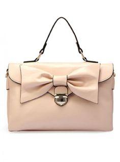 Beige Fashion Shoulder Bag With Bow$57.00