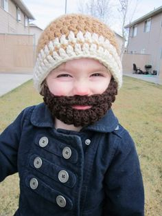 Free pattern for a crochet bobble beard to attach to your favorite beanie, in sizes extra small, small, medium and large. Linked to a free multi-sized beanie pattern. Because who doesn't lov a crochet beard hat! Baby Beard Hat, Beard Beanie, Red Beard, Baby Hats, Beard Head, Full Beard, Nice Beard, Stubble Beard, Crochet Beard Hat