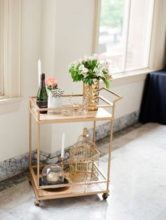 Gold bar cart: http://www.stylemepretty.com/washington-weddings/spokane/2015/06/19/black-and-white-spokane-wedding-inspiration-with-pops-of-color/   Photography: Park Road - http://parkroadphotography.com/