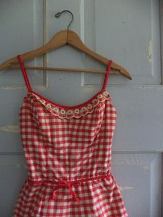 1950s Bathing Suit Red 50s One Piece Bathing by SassySisterVintage